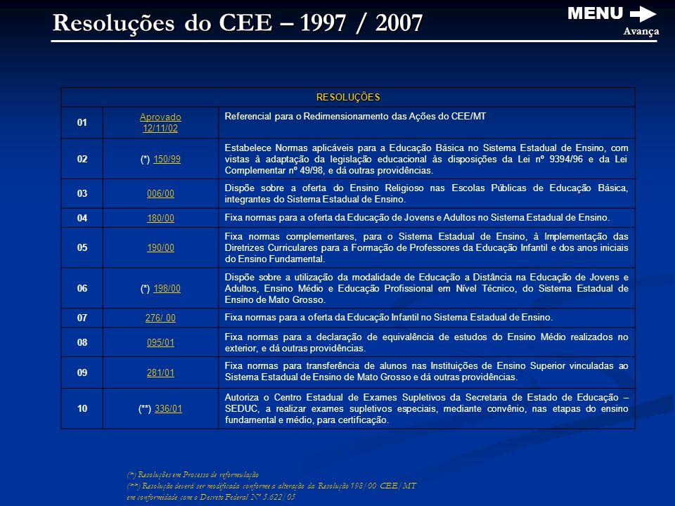 Resoluções do CEE – 1997 / 2007 MENU Avança RESOLUÇÕES 01 Aprovado