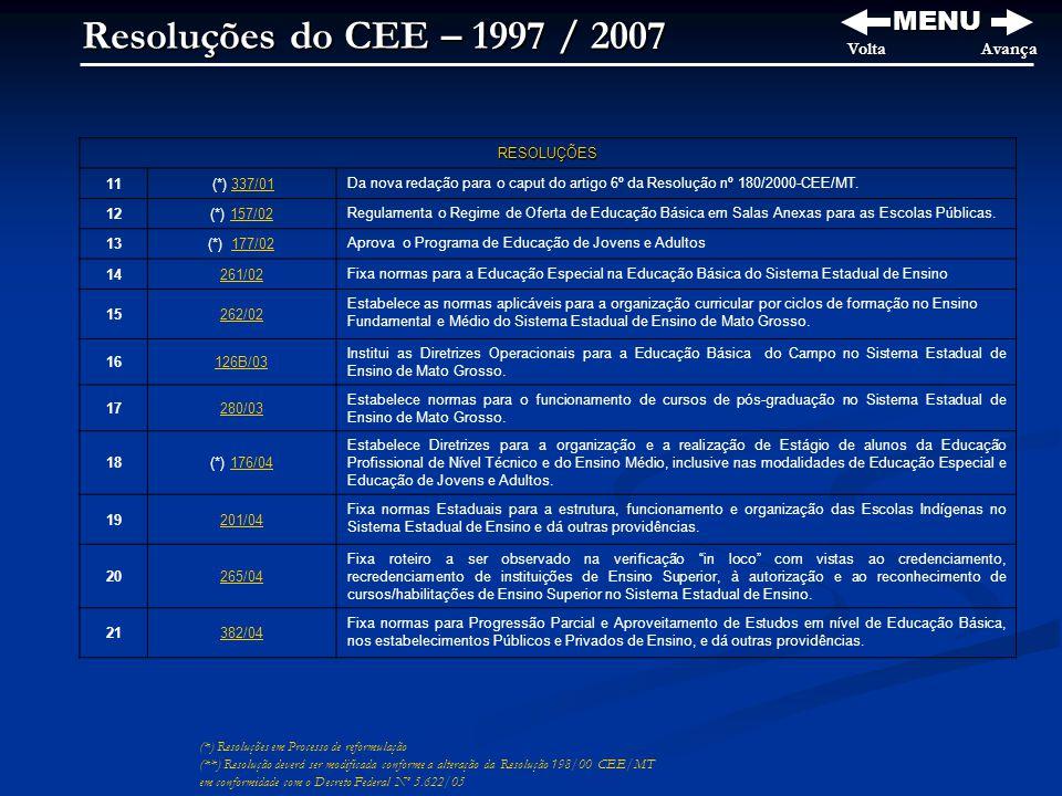 Resoluções do CEE – 1997 / 2007 MENU Volta Avança RESOLUÇÕES 11