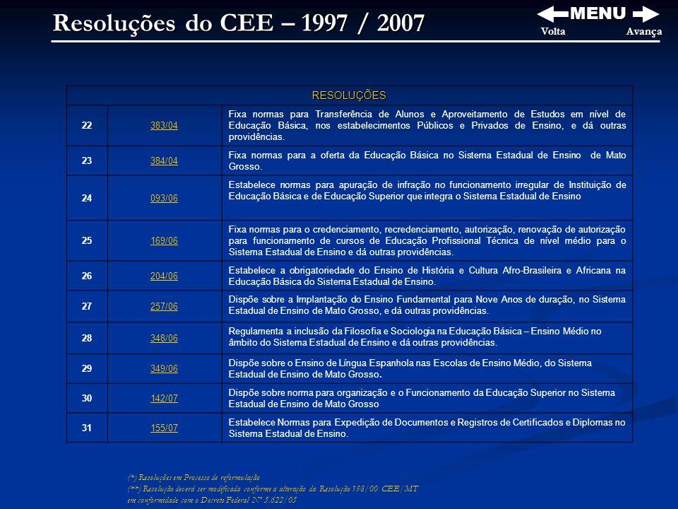 Resoluções do CEE – 1997 / 2007 MENU Volta Avança RESOLUÇÕES 22 383/04