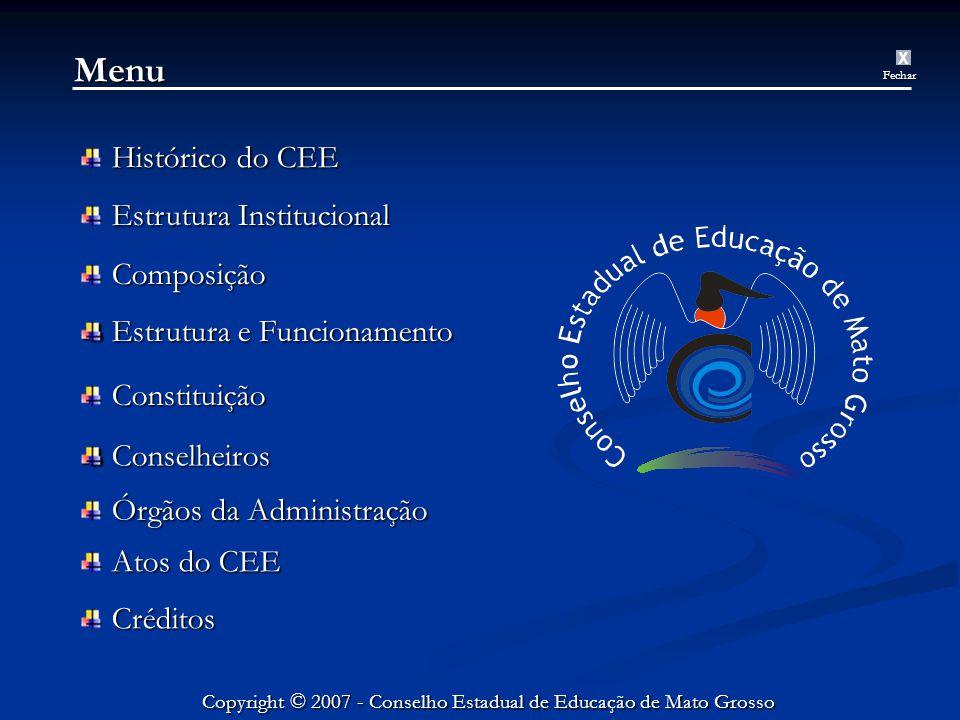 Menu Histórico do CEE Estrutura Institucional Composição