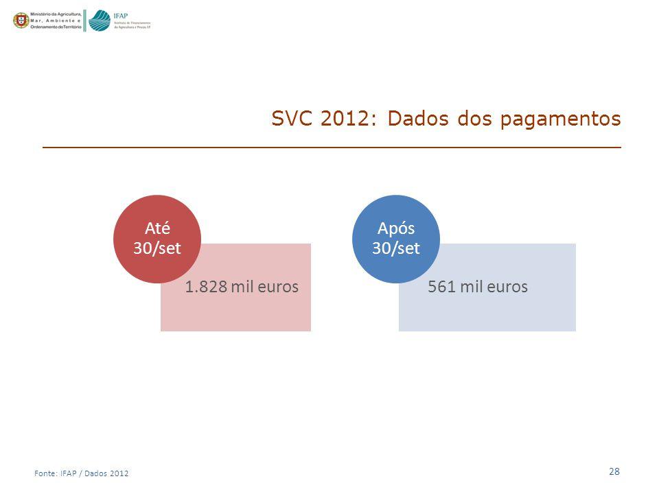 SVC 2012: Dados dos pagamentos
