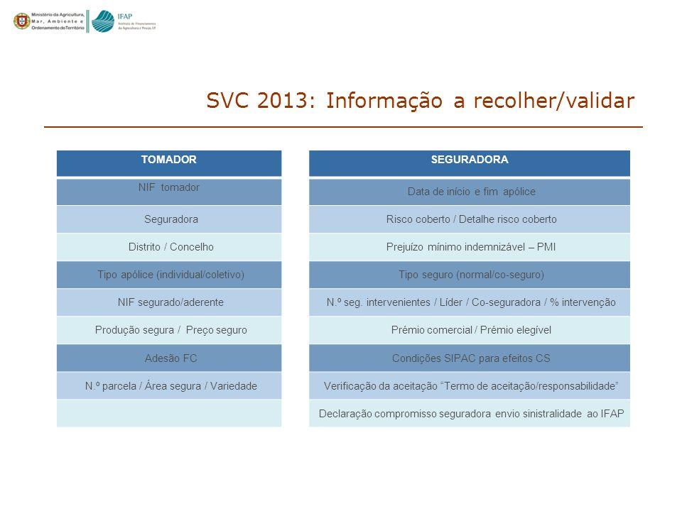 SVC 2013: Informação a recolher/validar