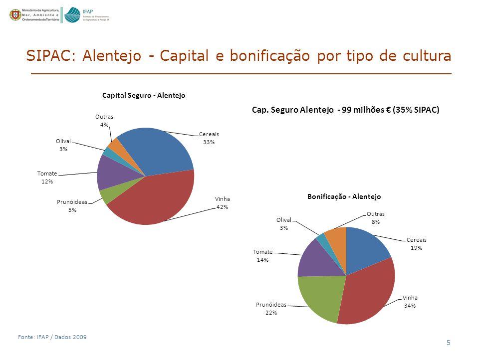 SIPAC: Alentejo - Capital e bonificação por tipo de cultura