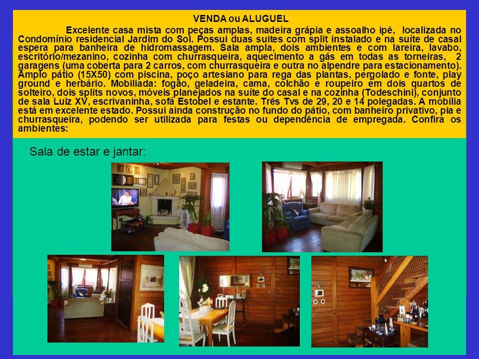 Sala de estar e jantar: VENDA ou ALUGUEL