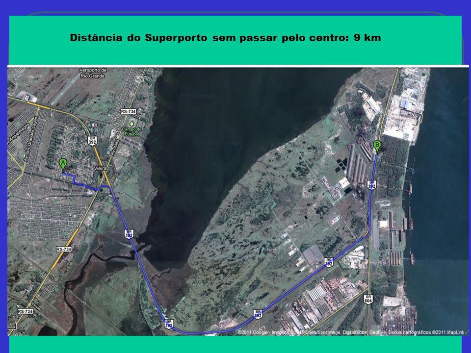 Distância do Superporto sem passar pelo centro: 9 km