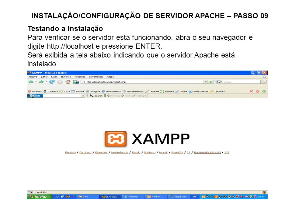 INSTALAÇÃO/CONFIGURAÇÃO DE SERVIDOR APACHE – PASSO 09