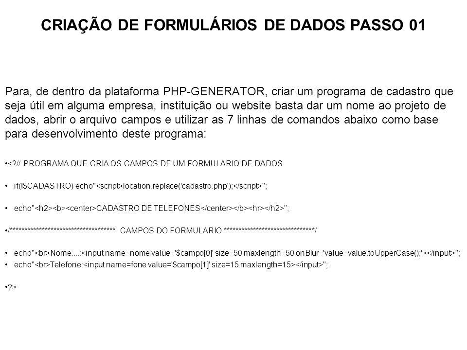CRIAÇÃO DE FORMULÁRIOS DE DADOS PASSO 01