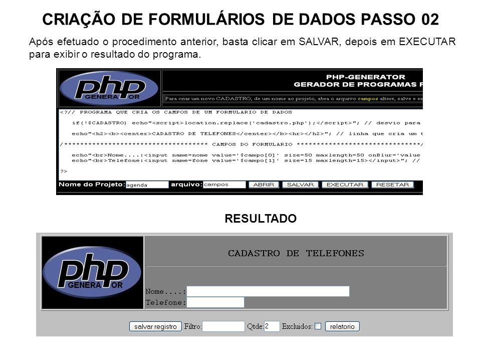 CRIAÇÃO DE FORMULÁRIOS DE DADOS PASSO 02