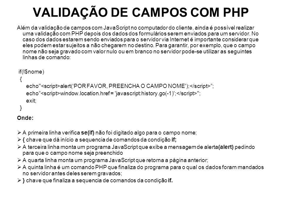 VALIDAÇÃO DE CAMPOS COM PHP