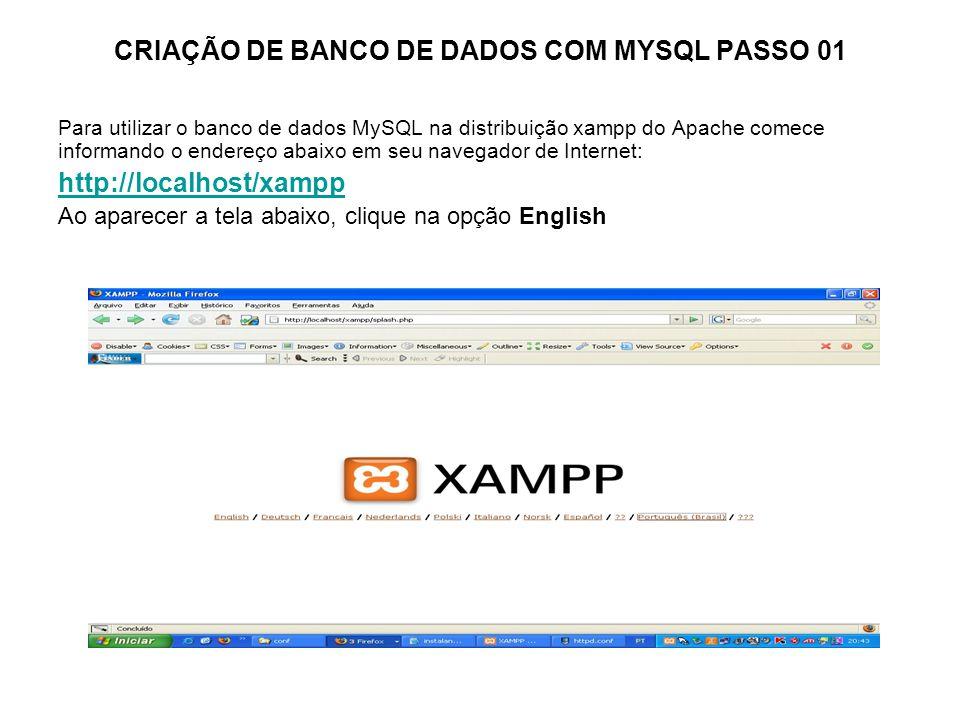 CRIAÇÃO DE BANCO DE DADOS COM MYSQL PASSO 01