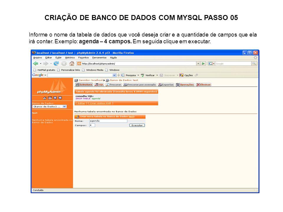 CRIAÇÃO DE BANCO DE DADOS COM MYSQL PASSO 05
