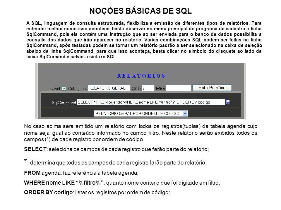 NOÇÕES BÁSICAS DE SQL