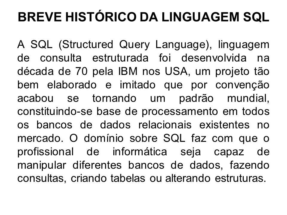 BREVE HISTÓRICO DA LINGUAGEM SQL