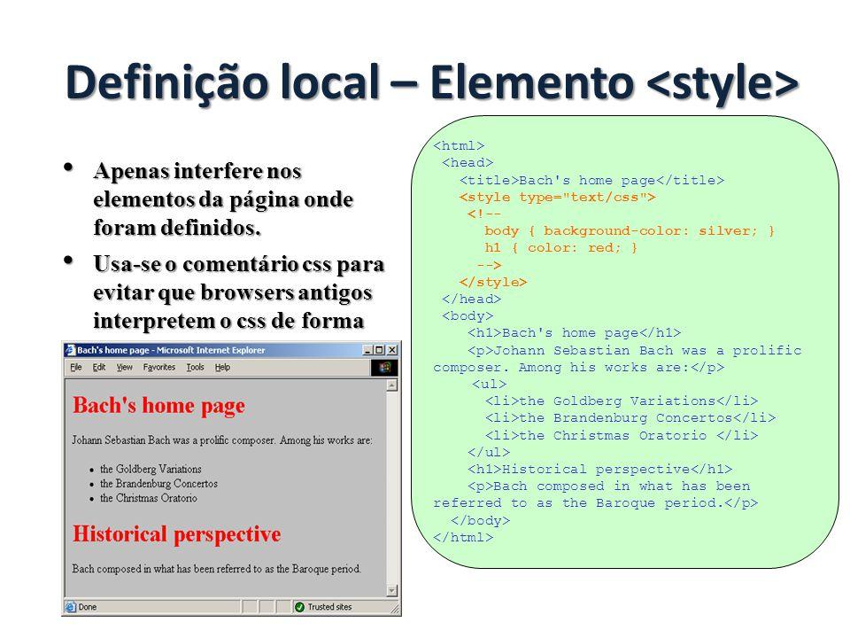 Definição local – Elemento <style>