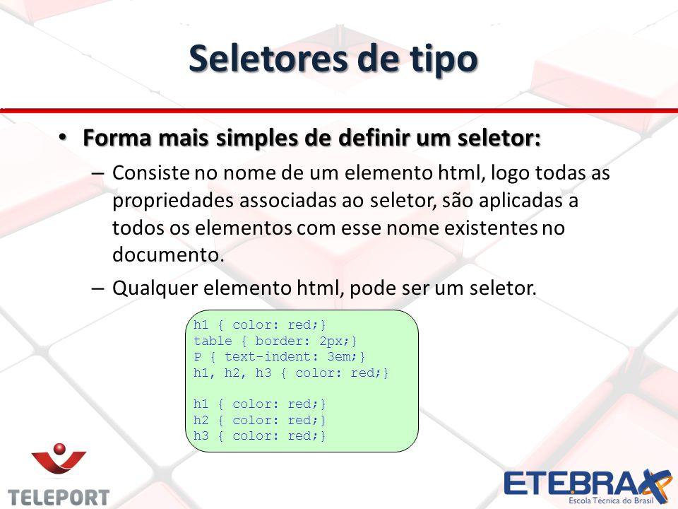 Seletores de tipo Forma mais simples de definir um seletor: