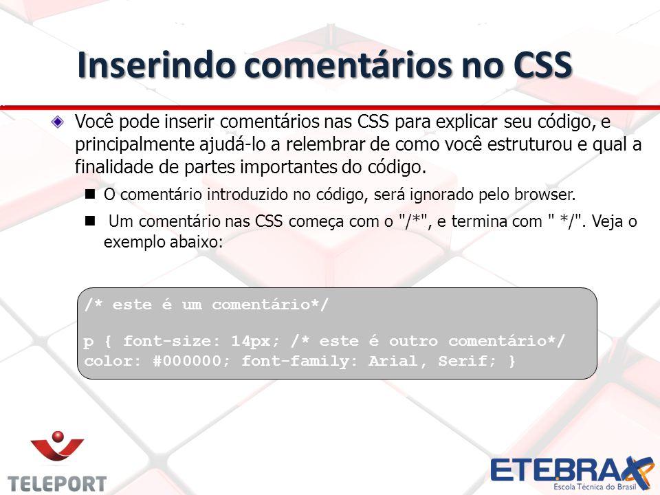 Inserindo comentários no CSS
