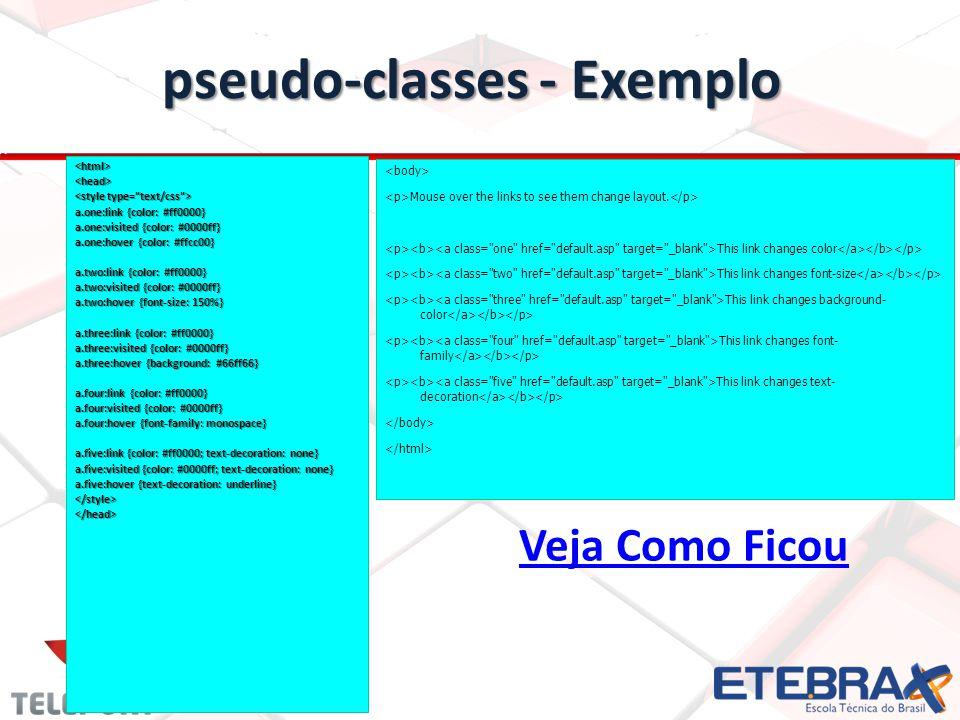 pseudo-classes - Exemplo