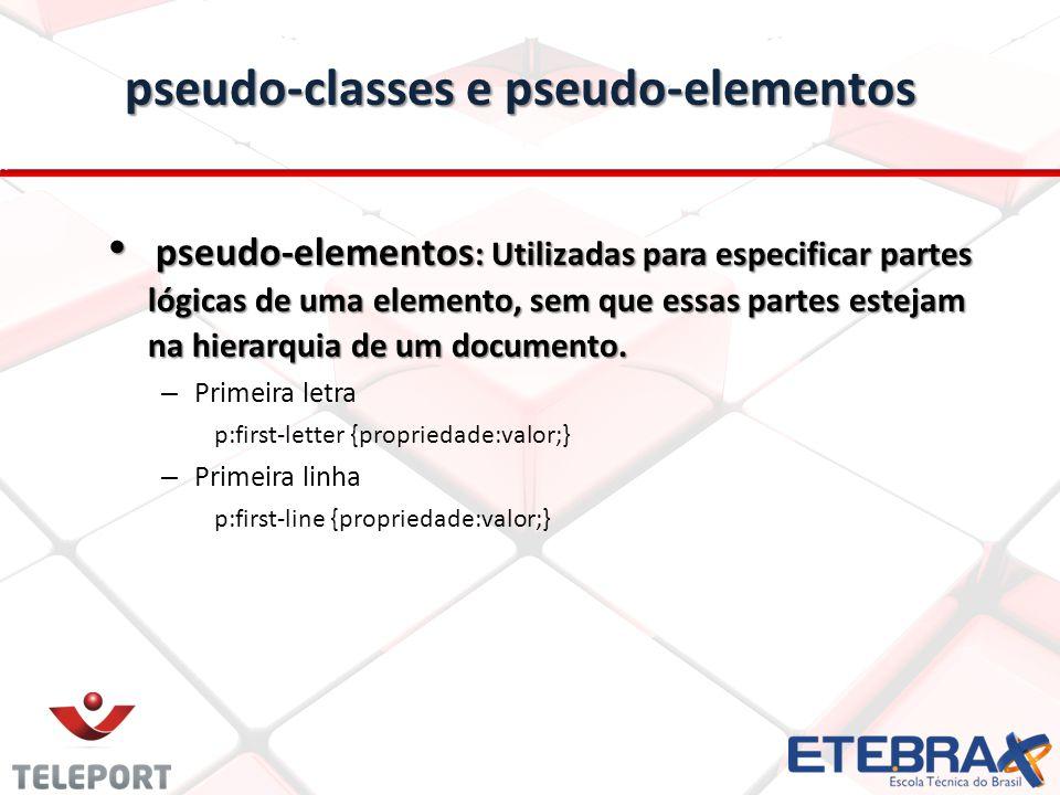 pseudo-classes e pseudo-elementos