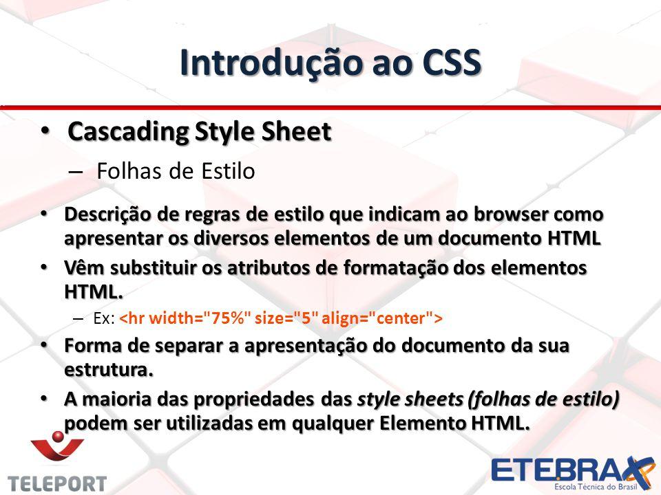 Introdução ao CSS Cascading Style Sheet Folhas de Estilo