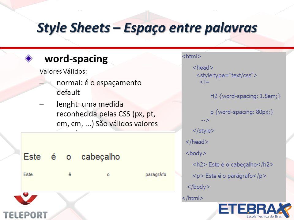 Style Sheets – Espaço entre palavras