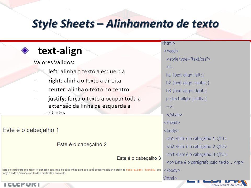 Style Sheets – Alinhamento de texto