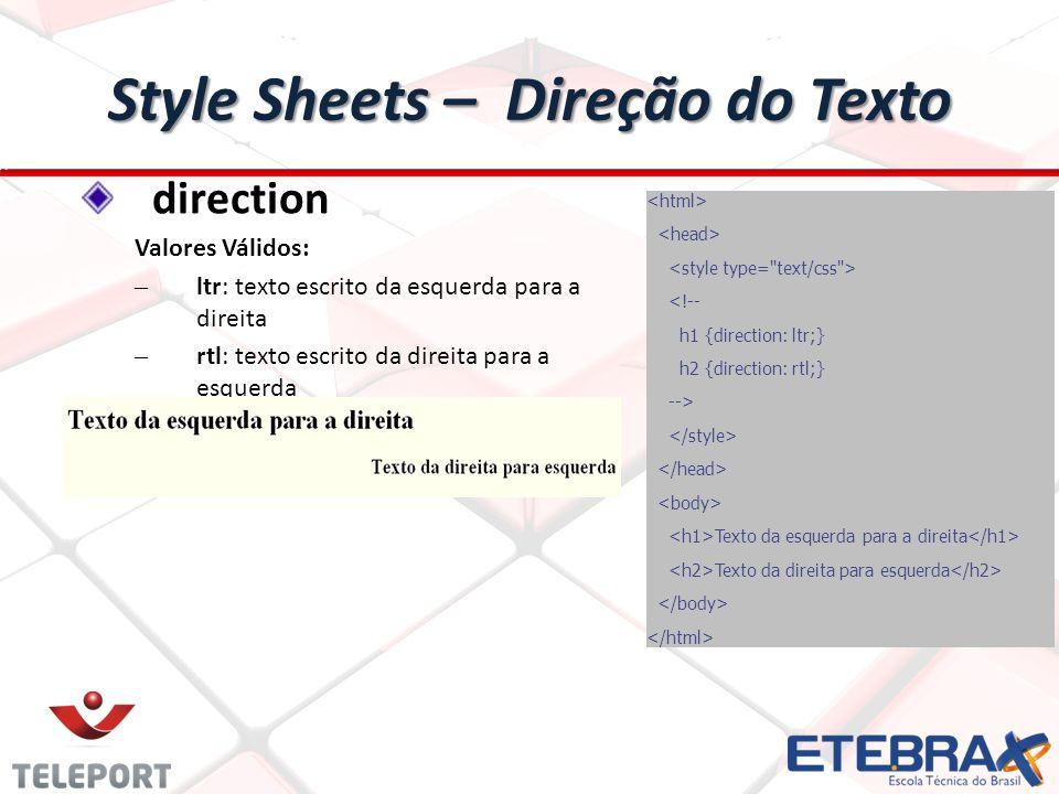 Style Sheets – Direção do Texto