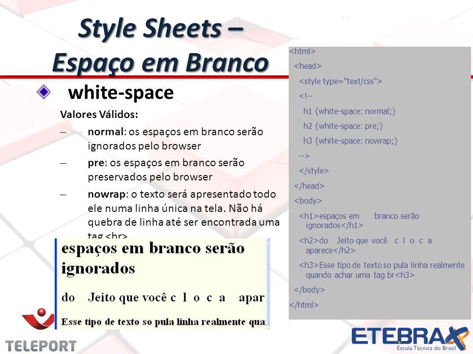 Style Sheets – Espaço em Branco