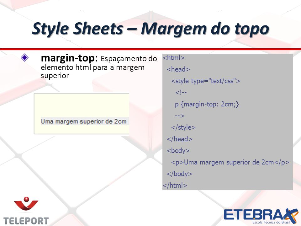 Style Sheets – Margem do topo
