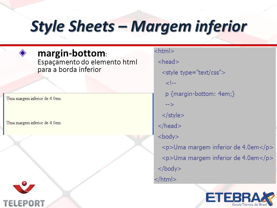 Style Sheets – Margem inferior