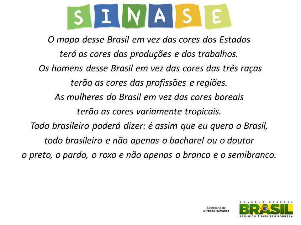 O mapa desse Brasil em vez das cores dos Estados