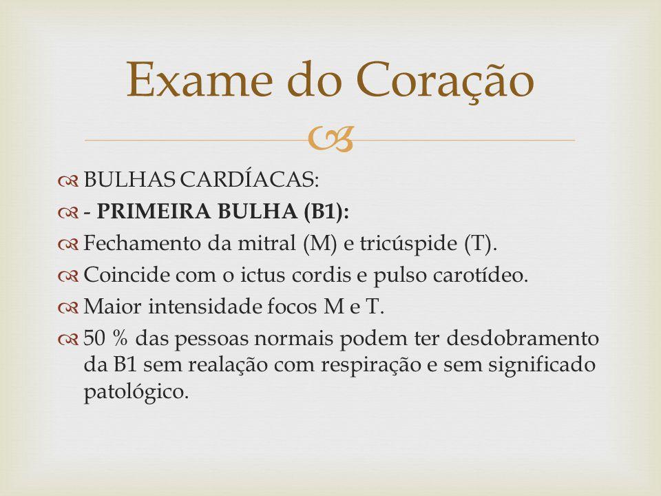 Exame do Coração BULHAS CARDÍACAS: - PRIMEIRA BULHA (B1):