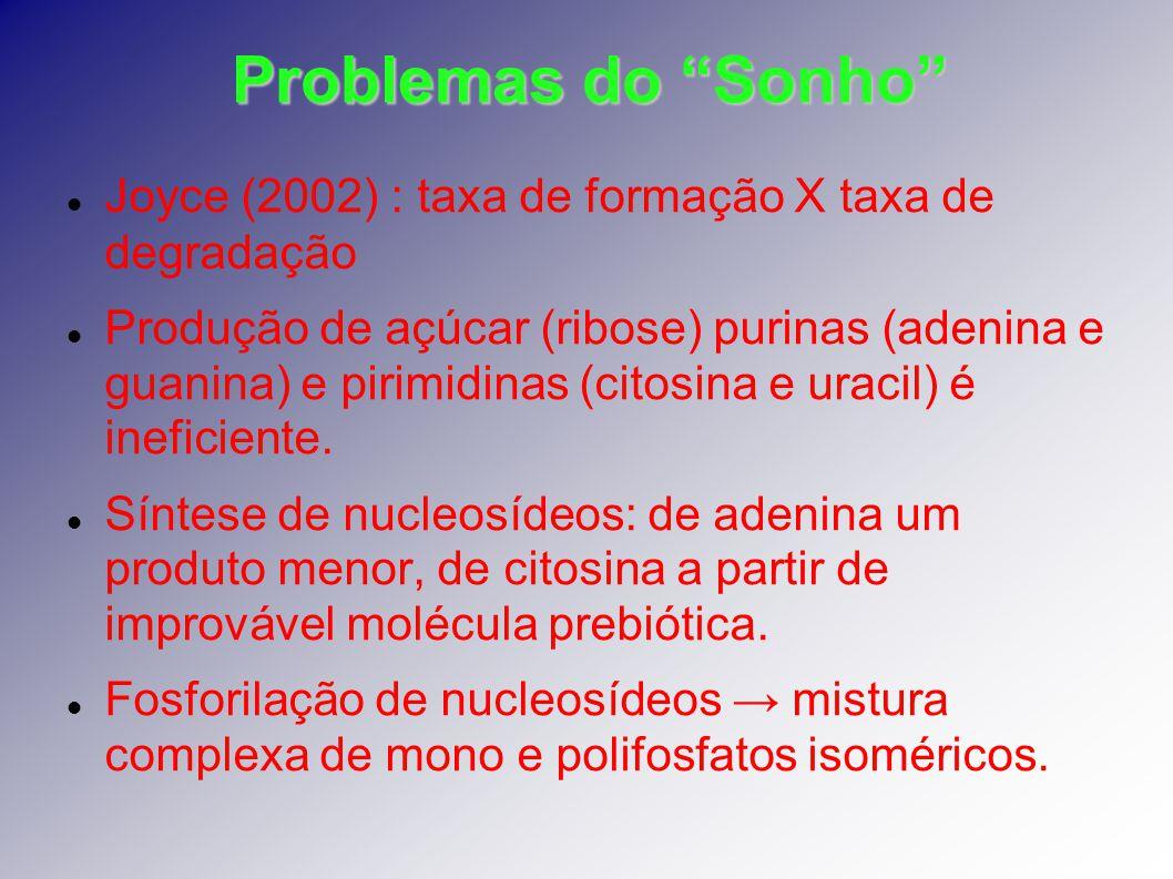 Problemas do Sonho Joyce (2002) : taxa de formação X taxa de degradação.
