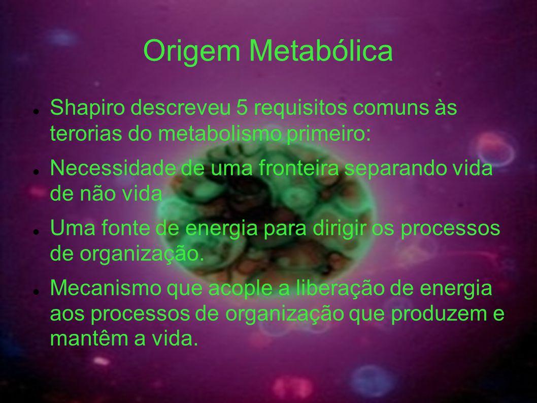 Origem Metabólica Shapiro descreveu 5 requisitos comuns às terorias do metabolismo primeiro: