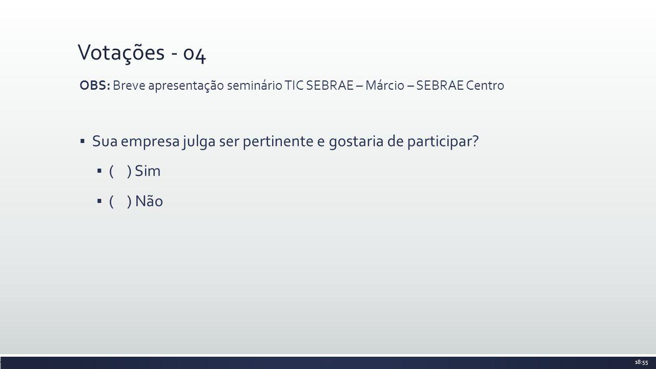 Votações - 04 OBS: Breve apresentação seminário TIC SEBRAE – Márcio – SEBRAE Centro. Sua empresa julga ser pertinente e gostaria de participar
