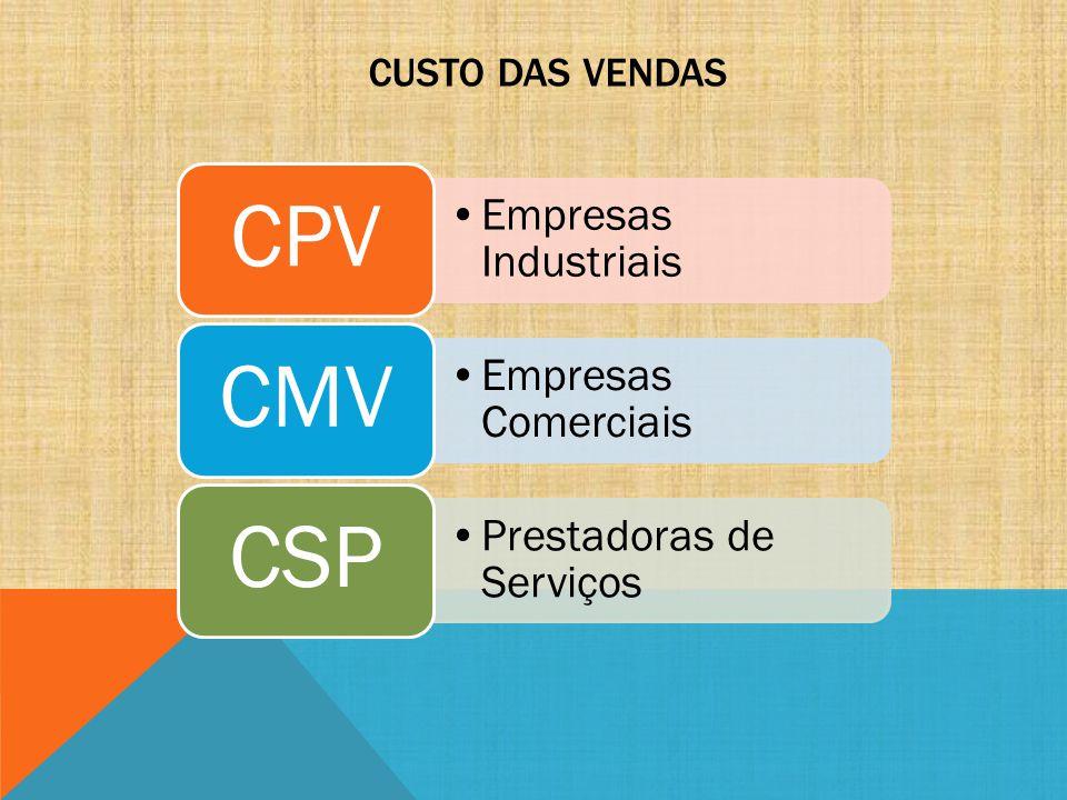 CPV CMV CSP Empresas Industriais Empresas Comerciais
