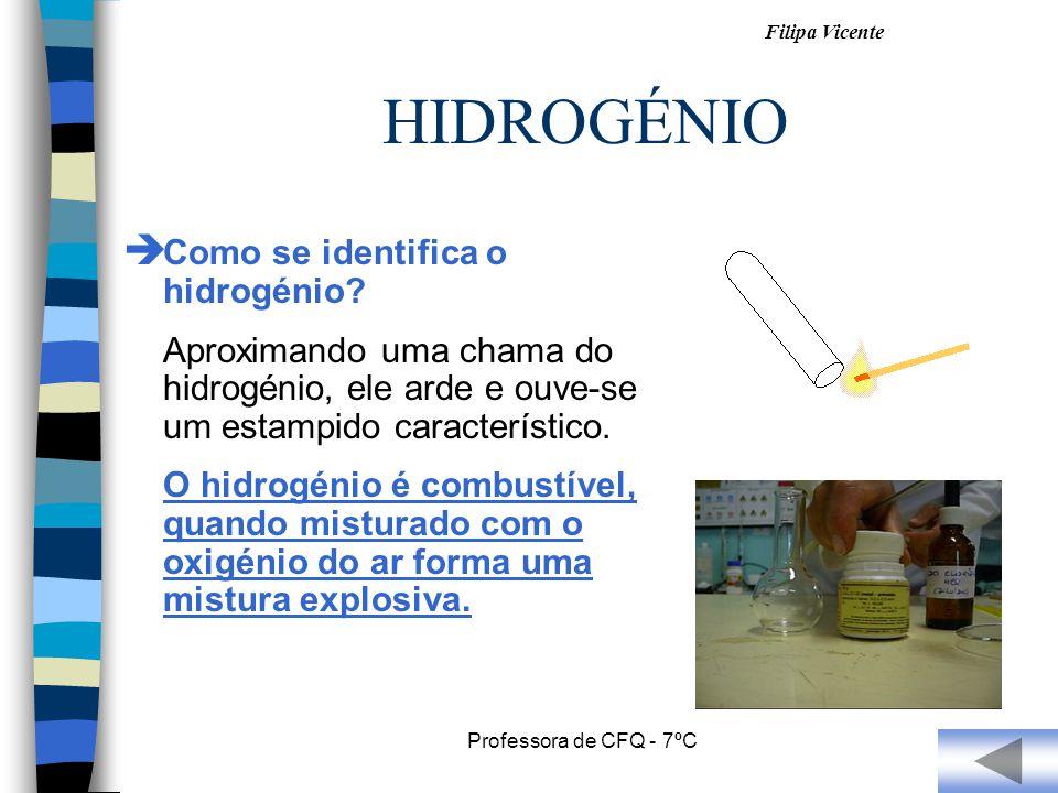 HIDROGÉNIO Como se identifica o hidrogénio