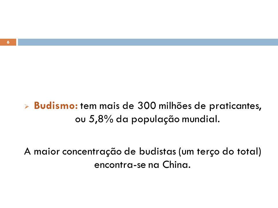 Budismo: tem mais de 300 milhões de praticantes, ou 5,8% da população mundial.