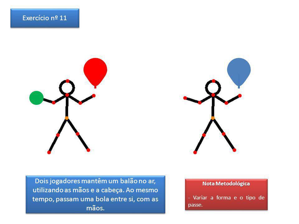 Exercício nº 11 Dois jogadores mantêm um balão no ar, utilizando as mãos e a cabeça. Ao mesmo tempo, passam uma bola entre si, com as mãos.
