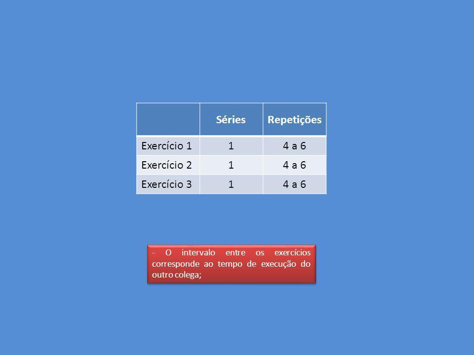 Séries Repetições Exercício 1 1 4 a 6 Exercício 2 Exercício 3
