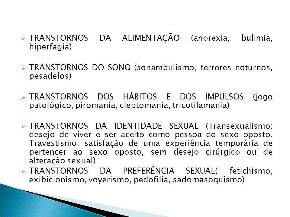 TRANSTORNOS DA ALIMENTAÇÃO (anorexia, bulimia, hiperfagia)