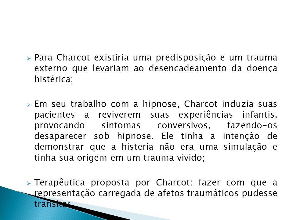 Para Charcot existiria uma predisposição e um trauma externo que levariam ao desencadeamento da doença histérica;