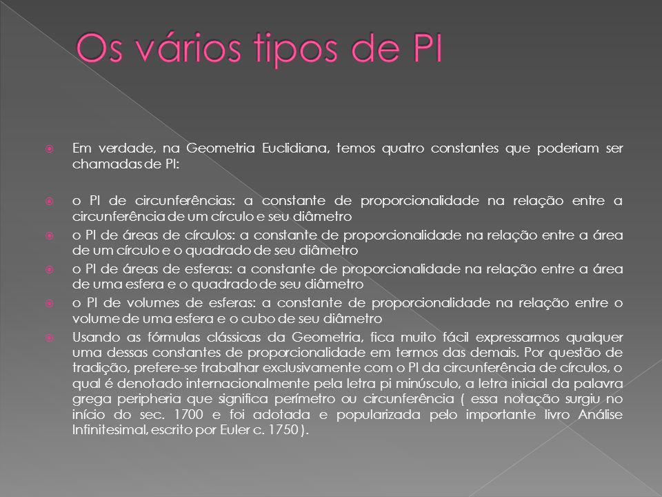 Os vários tipos de PI Em verdade, na Geometria Euclidiana, temos quatro constantes que poderiam ser chamadas de PI: