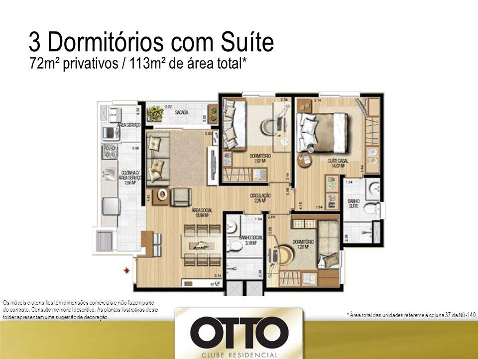 3 Dormitórios com Suíte 72m² privativos / 113m² de área total*