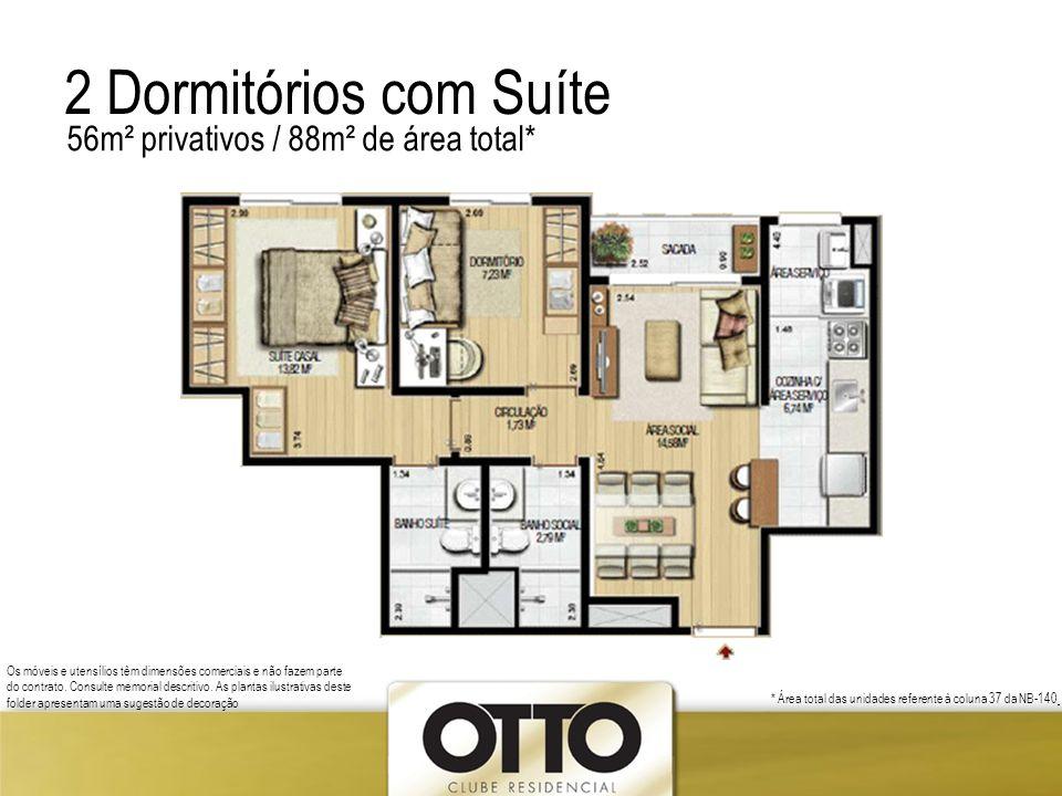 2 Dormitórios com Suíte 56m² privativos / 88m² de área total*