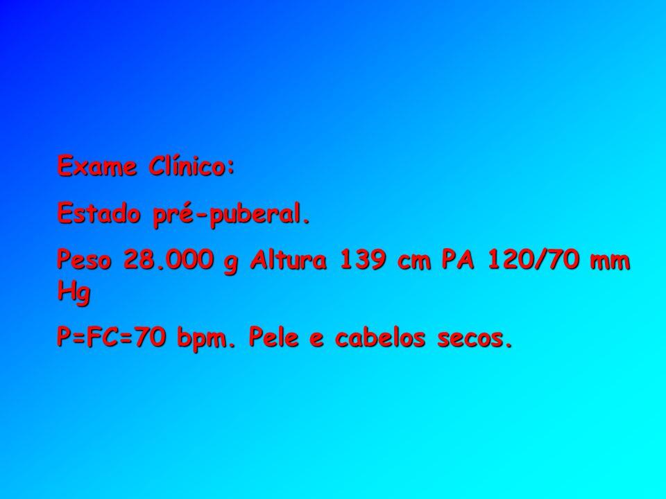 Exame Clínico: Estado pré-puberal. Peso 28.000 g Altura 139 cm PA 120/70 mm Hg.