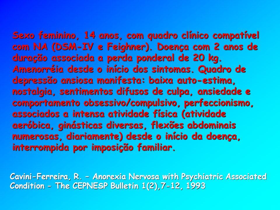 Sexo feminino, 14 anos, com quadro clínico compatível com NA (DSM-IV e Feighner). Doença com 2 anos de duração associada a perda ponderal de 20 kg. Amenorréia desde o início dos sintomas. Quadro de depressão ansiosa manifesta: baixa auto-estima, nostalgia, sentimentos difusos de culpa, ansiedade e comportamento obsessivo/compulsivo, perfeccionismo, associados a intensa atividade física (atividade aeróbica, ginásticas diversas, flexões abdominais numerosas, diariamente) desde o início da doença, interrompida por imposição familiar.