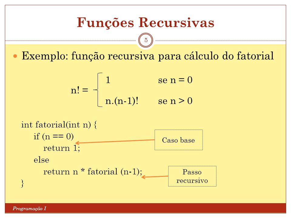 Funções Recursivas Exemplo: função recursiva para cálculo do fatorial