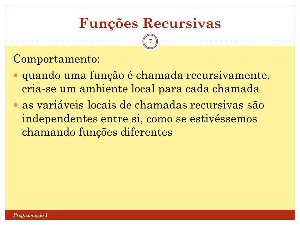Funções Recursivas Comportamento: