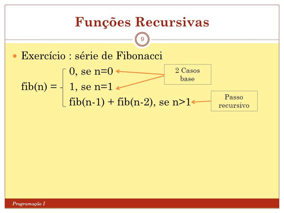 Funções Recursivas Exercício : série de Fibonacci 0, se n=0
