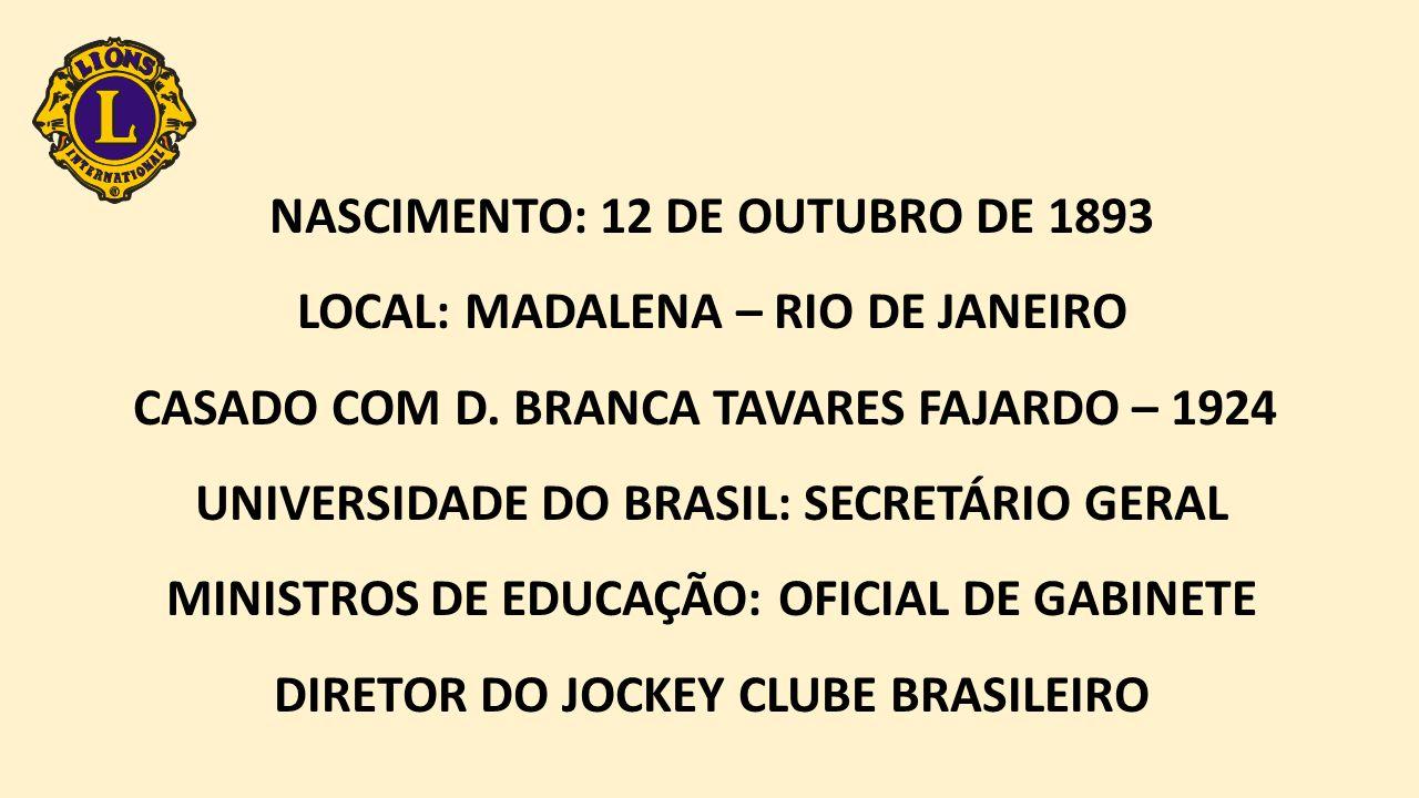 NASCIMENTO: 12 DE OUTUBRO DE 1893 LOCAL: MADALENA – RIO DE JANEIRO